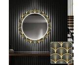 Ronde decoratieve spiegel met LED-verlichting voor in de gang - Art Deco