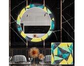 Ronde decoratieve spiegel met LED-verlichting voor in de eetkamer - Abstract Geometric