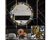 Ronde decoratieve spiegel met LED-verlichting voor in de eetkamer - Colorful Leaves