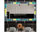Decoratieve spiegel met LED-verlichting voor in de eetkamer - Abstract Geometric