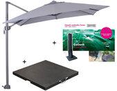 Garden Impressions Hawaii zweefparasol S 250x250 - donker grijs/licht grijs met 60 kg parasolvoet en parasolhoes