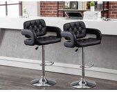 Set van 2 barkrukken CONAN - Kunstleer - Verstelbare hoogte - Zwart