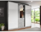 Kledingkast BODIL - Schuifdeuren - Spiegel en laden - L240 cm - Grijs en wit