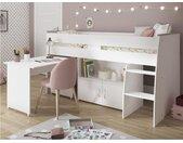 Gecombineerd bed MARCELLE - Met bureau en opbergruimte - 90 x 200 cm - Wit