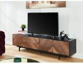 Tv-meubel ISMAEL - 3 deuren en 2 lades - MDF - Noot en zwart