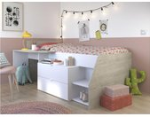 Eenpersoonsbed GISELE bureau en opbergruimte inbegrepen - 90 x 200 cm - Wit en eiken