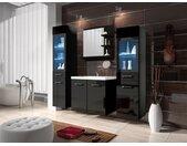 Badkamermeubel LAURINE - enkele wastafel - met ledverlichting - zwart gelakt
