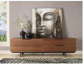 TV-meubel TAYRON - 2 deuren & 2 laden - MDF en metalen poten - Walnoot kleur