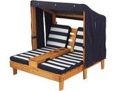KidKraft® Klapstoel voor kinderen Dubbele stretcher met bekerhouders, wit/blauw