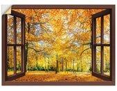 Artland Artprint Blik uit het venster - herfstbos panorama in vele afmetingen & productsoorten -artprint op linnen, poster, muursticker / wandfolie ook geschikt voor de badkamer (1 stuk)