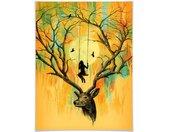 Wall-Art Poster Oranje Edelhert gewei schommel Poster, artprint, wandposter (1 stuk)