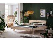 SalesFever Houten ledikant van massief vurenhout, balkenbed in authentieke look, futonbed in landhuis stijl, massief houten bed