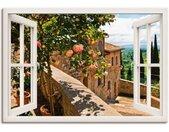 Artland Artprint Blik uit het venster rozen op balkon Toscane in vele afmetingen & productsoorten - artprint van aluminium / artprint voor buiten, artprint op linnen, poster, muursticker / wandfolie ook geschikt voor de badkamer (1 stuk)