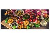 Artland Keukenwand Italiaans mediterraan eten zelfklevend in vele maten - spatscherm keuken achter kookplaat en spoelbak als wandbescherming tegen vet, water en vuil - achterwand, wandbekleding van aluminium (1-delig)