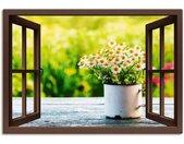 Artland Artprint Blik uit het venster tuin met madeliefje in vele afmetingen & productsoorten - artprint van aluminium / artprint voor buiten, artprint op linnen, poster, muursticker / wandfolie ook geschikt voor de badkamer (1 stuk)