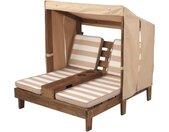 KidKraft® Klapstoel voor kinderen Dubbele stretcher met bekerhouders, wit/beige