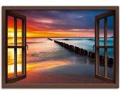 Artland Artprint Blik uit het venster Oostzee bij zonsopkomst in vele afmetingen & productsoorten -artprint op linnen, poster, muursticker / wandfolie ook geschikt voor de badkamer (1 stuk)