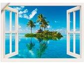 Artland Artprint Blik uit het venster eiland palmen zee in vele afmetingen & productsoorten -artprint op linnen, poster, muursticker / wandfolie ook geschikt voor de badkamer (1 stuk)