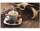 Artland Keukenwand Koffiekopje linnen zak met koffiebonen zelfklevend in vele maten - spatscherm keuken achter kookplaat en spoelbak als wandbescherming tegen vet, water en vuil - achterwand, wandbekleding van aluminium (1-delig)