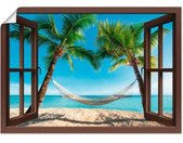 Artland Artprint Blik uit het venster palmenstrand Caribic in vele afmetingen & productsoorten - artprint van aluminium / artprint voor buiten, artprint op linnen, poster, muursticker / wandfolie ook geschikt voor de badkamer (1 stuk)