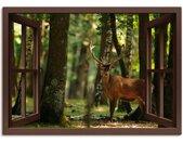 Artland Artprint Blik uit het venster - edelhert 4 - bos in vele afmetingen & productsoorten -artprint op linnen, poster, muursticker / wandfolie ook geschikt voor de badkamer (1 stuk)