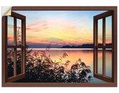 Artland Artprint Blik uit het venster - avondrood in het riet in vele afmetingen & productsoorten -artprint op linnen, poster, muursticker / wandfolie ook geschikt voor de badkamer (1 stuk)
