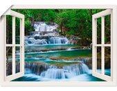 Artland Artprint Blik uit het venster waterval in Kanchanaburi in vele afmetingen & productsoorten -artprint op linnen, poster, muursticker / wandfolie ook geschikt voor de badkamer (1 stuk)
