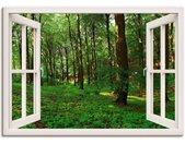 Artland Artprint Blik uit het venster panorama groen zomerbos in vele afmetingen & productsoorten -artprint op linnen, poster, muursticker / wandfolie ook geschikt voor de badkamer (1 stuk)