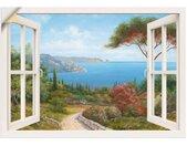 Artland Artprint Blik uit het venster - huis aan zee I in vele afmetingen & productsoorten -artprint op linnen, poster, muursticker / wandfolie ook geschikt voor de badkamer (1 stuk)