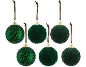 my home Kerstbal met fluwelen decoratie (set, 6 stuks)