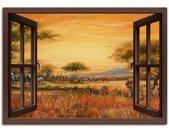Artland Artprint Blik uit het venster Afrikaanse steppe leeuwen in vele afmetingen & productsoorten -artprint op linnen, poster, muursticker / wandfolie ook geschikt voor de badkamer (1 stuk)