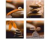 Artland Artprint op linnen Bloemblad druppel zen piramide weegschaal (4 stuks)