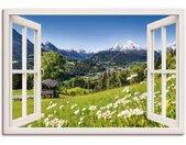 Artland Artprint Blik uit het venster Beierse Alpen in vele afmetingen & productsoorten - artprint van aluminium / artprint voor buiten, artprint op linnen, poster, muursticker / wandfolie ook geschikt voor de badkamer (1 stuk)