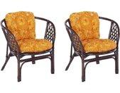 Home affaire Rotanstoel Rotanfauteuil in een set van 2 van met de hand gevlochten rotan en bijpassende kussens, breedte 66 cm