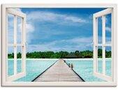 Artland Artprint Blik uit het venster Maldivisch paradijs in vele afmetingen & productsoorten -artprint op linnen, poster, muursticker / wandfolie ook geschikt voor de badkamer (1 stuk)