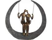 Casablanca by Gilde Decoratief figuur Sculptuur swing, bronskleurig/grijs Decoratief object, hoogte 30, paartje op schommel, met teksthanger, woonkamer (1 stuk)