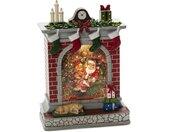 KONSTSMIDE Decoratieve ledverlichting Waterlantaarn open haard met kerstman en meisje, voor binnen, 1 warmwitte diode, met aan-uitschakelaar, 5-uurs timerfunctie, werkt op batterijen