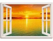 Artland Artprint Blik uit het venster - zonondergangspanorama in vele afmetingen & productsoorten -artprint op linnen, poster, muursticker / wandfolie ook geschikt voor de badkamer (1 stuk)
