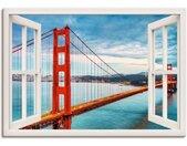 Artland Artprint Blik uit het venster Golden Gate Bridge in vele afmetingen & productsoorten - artprint van aluminium / artprint voor buiten, artprint op linnen, poster, muursticker / wandfolie ook geschikt voor de badkamer (1 stuk)