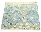 morgenland wollen kleed Designer Teppich handgeknüpft blau handgeknoopt