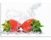 Artland Keukenwand Aardbeien met prikwater zelfklevend in vele maten - spatscherm keuken achter kookplaat en spoelbak als wandbescherming tegen vet, water en vuil - achterwand, wandbekleding van aluminium (1-delig)