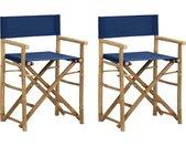 Regisseursstoelen 2 st inklapbaar blauw bamboe en stof