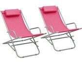 Klapstoelen 2 st staal roze