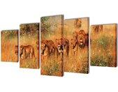 Canvasdoeken Leeuwen 200 x 100 cm