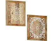 Wandpanelen 2 st handgesneden 40x40x1,5 cm massief mangohout