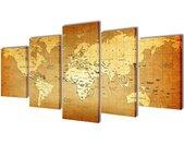Canvasdoeken wereldkaart 200 x 100 cm