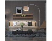 Booglamp, retro lamp, vloerlamp, Edelstaal, gebogen vloerlamp met lampenkap , verstelbaar