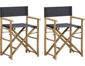 Regisseursstoelen 2 st inklapbaar donkergrijs bamboe en stof