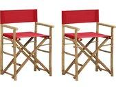 Regisseursstoelen 2 st inklapbaar rood bamboe en stof