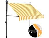 Luifel handmatig uittrekbaar met LED 150 cm wit en oranje